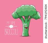 vector funny cartoon cute green ... | Shutterstock .eps vector #794192404