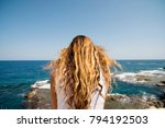 beautiful woman in sicily... | Shutterstock . vector #794192503