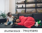 young mother old is... | Shutterstock . vector #794195890