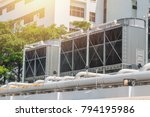 Hvac Air Chillers On Rooftop...