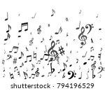 black flying musical notes... | Shutterstock .eps vector #794196529
