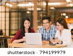 young asian college students... | Shutterstock . vector #794199979