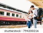 multiethnic traveler couple ... | Shutterstock . vector #794200216