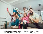 happy friends or football fans... | Shutterstock . vector #794205079