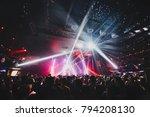 silhouette of concert crowd in... | Shutterstock . vector #794208130