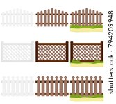 a wooden fence with grass. flat ... | Shutterstock .eps vector #794209948