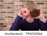 little happy cute boy is posing ... | Shutterstock . vector #794210566
