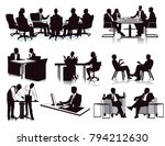 business meeting discussion ... | Shutterstock . vector #794212630