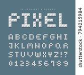 3d pixel alphabet letters  ... | Shutterstock .eps vector #794215984