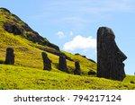 moai statues in the rano raraku ... | Shutterstock . vector #794217124