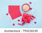 valentines day mockup. coffee ... | Shutterstock . vector #794218150