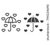 love umbrella line and glyph... | Shutterstock .eps vector #794224690