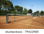 View of a tennis field with clay court - stock photo