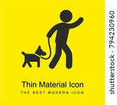 Stock vector man carrying a dog with a belt to walk bright yellow material minimal icon or logo design 794230960