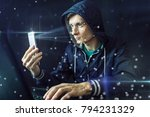 the hacker is trying to hack...   Shutterstock . vector #794231329