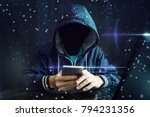 an anonymous hacker without a... | Shutterstock . vector #794231356