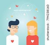valentine's day happy couple...   Shutterstock .eps vector #794238160