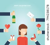 valentine's day gifts  girl and ...   Shutterstock .eps vector #794238178