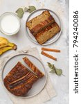 sliced banana bread with... | Shutterstock . vector #794240086