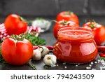tomato paste  puree in glass...   Shutterstock . vector #794243509