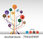 tools flat icon concept. vector ... | Shutterstock .eps vector #794245909