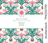 vector card with pink snowdrop...   Shutterstock .eps vector #794253790