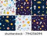 space seamless pattern set...   Shutterstock .eps vector #794256094