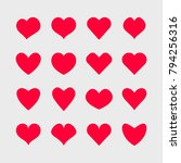 vector hearts icons set. | Shutterstock .eps vector #794256316