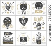 set with vector greeting cards... | Shutterstock .eps vector #794257000