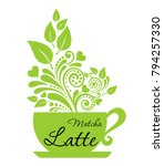 cup of matcha latte  isolated... | Shutterstock .eps vector #794257330