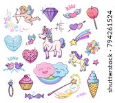 vector cute collection of... | Shutterstock .eps vector #794261524
