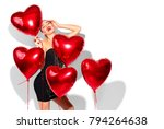 valentine beauty girl with red... | Shutterstock . vector #794264638