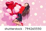 valentine beauty girl with red... | Shutterstock . vector #794265550