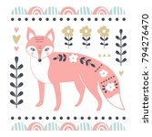 vector card with cute fox.... | Shutterstock .eps vector #794276470