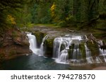 Lower Lewis River Falls in autumn season. Washington State, USA Pacific Northwest.