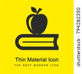 book with apple bright yellow...