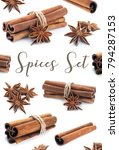 cinnamon stick group with star...   Shutterstock . vector #794287153