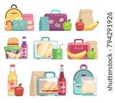 school snacks bags. healthy... | Shutterstock .eps vector #794291926