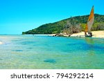 pirogue beach seaweed in indian ...   Shutterstock . vector #794292214