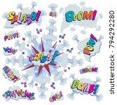 funny cartoon superhero... | Shutterstock .eps vector #794292280