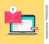 message on computer screen.... | Shutterstock .eps vector #794292310