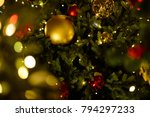 bright red and golden bubbles... | Shutterstock . vector #794297233