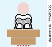 man speaking from the rostrum... | Shutterstock .eps vector #794297620
