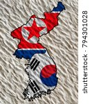 flags of south korea and north... | Shutterstock . vector #794301028