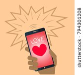 valentine card with a mobile... | Shutterstock .eps vector #794301208