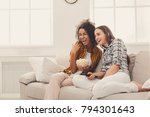 smiling young women relaxing... | Shutterstock . vector #794301643