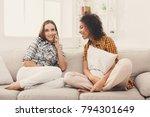 girl overhearing her friend... | Shutterstock . vector #794301649