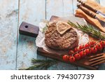 beef shank roasted on a grill... | Shutterstock . vector #794307739