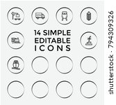 set of 14 freight outline icons ... | Shutterstock .eps vector #794309326