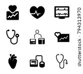 cardiology icons. set of 9... | Shutterstock .eps vector #794313970